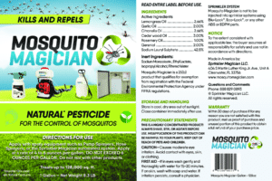 Mosquito Magician concentrate active ingredients, including Lemongass Oil, Garlic Oil, Citronella Oil, Cedarwood Oil, Rosemary Oil, and Geraniol.